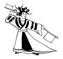 手绘双手挥动令旗的宫廷乐师