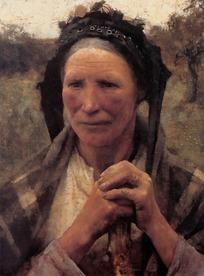 双手握着棍子的老妇人油画