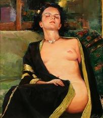 坦胸露乳半躺着的女人油画