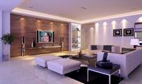 现代时尚沉稳客厅设计效果图