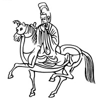 中国古典图案-戴帽子的骑马的人物