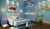 可爱儿童卧室内床头衣柜方向的设计效果图