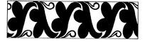 手绘连续三连幅的简单花纹黑白矩形矢量图案