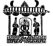 中国古典图案-亭子里的三个人