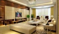 简约欧式客厅内沙发凳到电视墙角的效果图