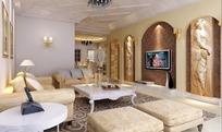 欧式客厅内沙发到餐厅方向的设计效果图