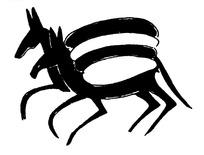 手绘两匹齐头并进奔跑的马黑白矢量图案