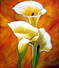 土黄色花朵背景马蹄莲白色范文道德与法治说课稿的油画图片