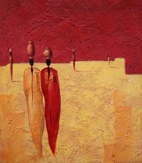 油画头顶罐子的非洲长袍女人