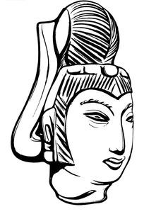 手绘古代宫廷夫人的石雕头像黑白矢量图案