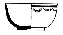 手绘一只绘有简单花纹的瓷碗黑白矢量图案
