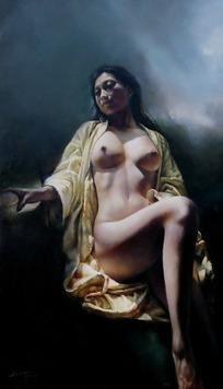 坦胸露乳坐着的女人油画