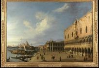 一幅欧洲海边码头风景图片