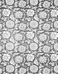 灰色背景上的圆形花朵和牡丹花图案