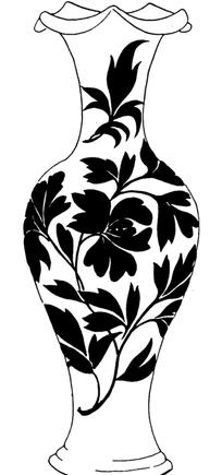 中国古典图案-萱草纹花瓶