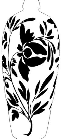 中国古典图案-萱草纹瓶