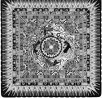 方格太阳纹连珠纹飞天花团装饰的地毯黑白图案