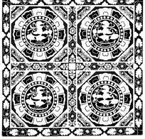 方形连珠纹衔草鸟纹构成的地毯黑白图案图片