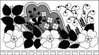 花朵图案的黑白长方形花边图片