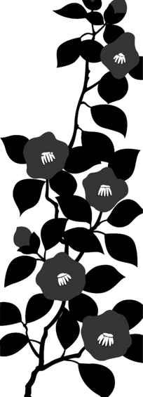 手绘黑色山茶花和叶子