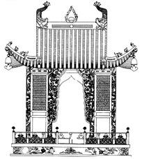 中国古典图案-房屋和栏杆构成的图案
