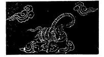 手绘踏着云彩蛇缠龟玄武