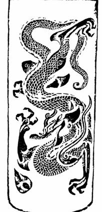 背景花边 花纹花边 > 手绘卷草纹尾青龙图片  抽象的祥云花纹图案