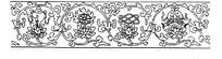 古代黑白花鱼纹边框纹样图案矢量素材