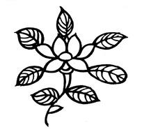 中国古典图案-花朵和带叶脉的叶子构成的图案图片