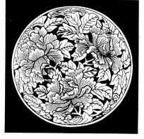 菱形格子里的花纹图案线描图图片