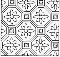 八边形花朵方形构成的线描背景方图图片