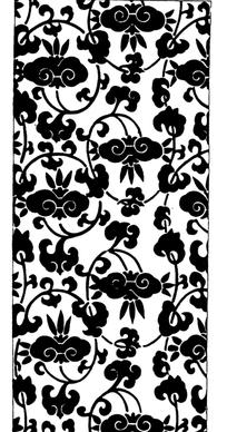 缠枝花叶纹卷曲纹构成的竖图图案