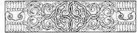 缠枝卷草纹花瓣纹圆形卷曲纹构成的线描横图
