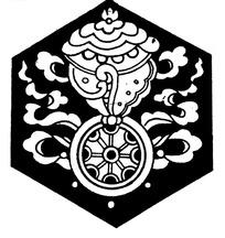带纹法轮纹卷曲纹构成的六边形黑白图案