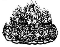 佛像纹莲花纹火云纹构成的斑驳古器图