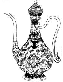 手绘刻满花朵和藤蔓花纹带手柄的酒壶图案