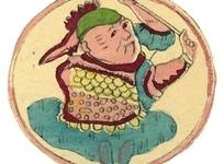 手绘盘膝舞动双臂古代盔甲士兵