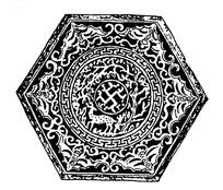 中国古典图案-动物树木和蝙蝠以及回纹构成的六边形图案