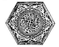 中国古典图案-卷曲纹和回纹构成的斑驳的六边形图案