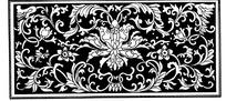 卷叶缠枝宝相花纹横框黑白图案