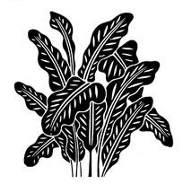 矢量黑色植物叶子插画剪影图片