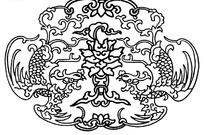 古典圆形对称凤纹图案矢量素材