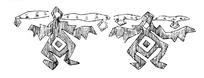 简单几何线条画人物画-两个伸双臂的抽象人物
