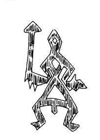 简单几何线条画人物画-拿箭头的抽象人物