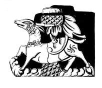 神鹿背莲雕刻纹构成的图案