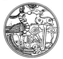 手绘凤凰与神鹿黑白圆形图案