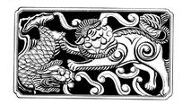 手绘木雕画龙头鱼戏皮丘