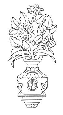 手绘装在花瓶中的花瓣叶子线条图片