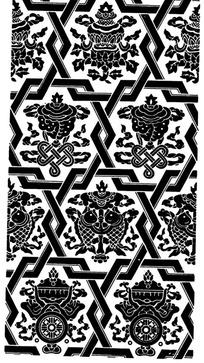 相互交叠六边形八宝纹构成的背景花纹图案