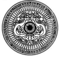 二龙戏珠纹光芒线条纹构成的圆形矢量图